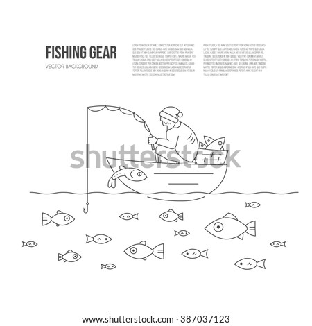 Fisherman in the boat catching fish. Go fishing concept with place for your text. Line style illustration made in vector.