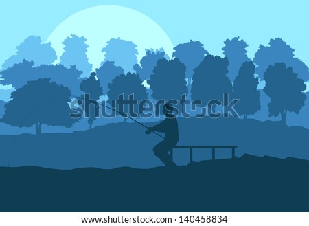 Fisherman in the morning vector background concept landscape - stock vector