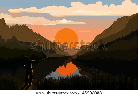 Fisherman in the mountain landscape - stock vector