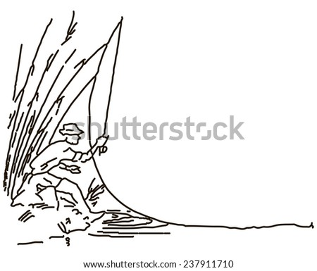 Fisherman makes casting gear from the shore. Vector illustration. - stock vector