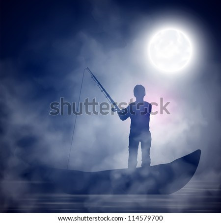 Fisherman on the boat; night, fog. Eps 10 - stock vector