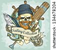 Fisherman skull logo design - Sailing Collection, Vector Illustration with sample text - stock photo