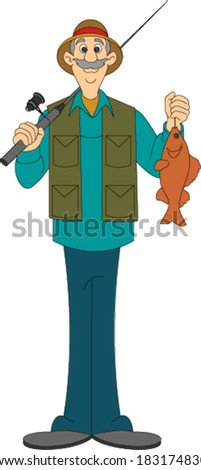 Fisherman Standing with Fish - stock vector