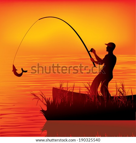 Fisherman vector - stock vector