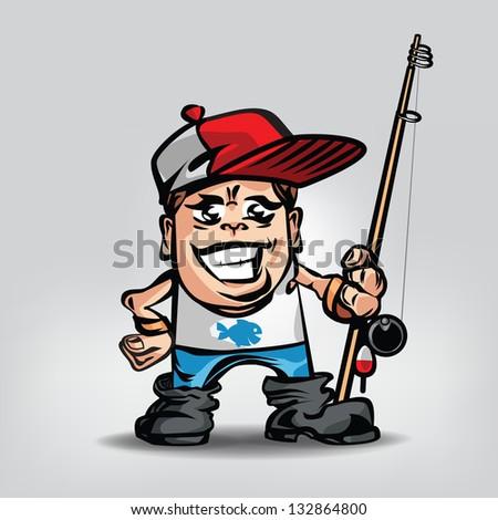 Fisherman. Vector illustration - stock vector