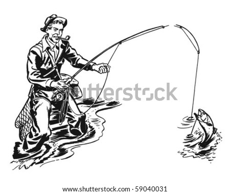 Fisherman With Pipe - Retro Clip Art - stock vector