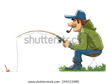 Fisherman with rod. Fishing. Eps10 vector illustration. - stock vector