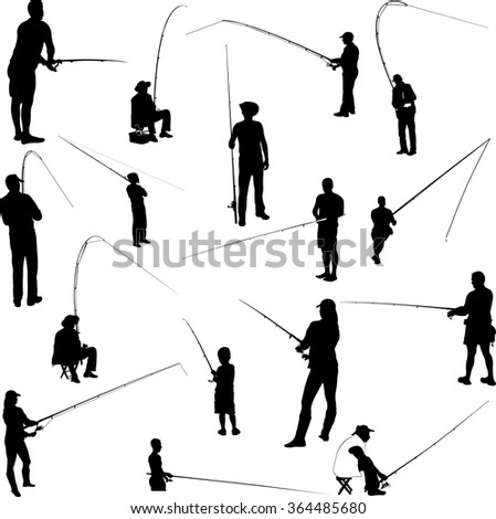 fishermen and fishing collection - vector - stock vector