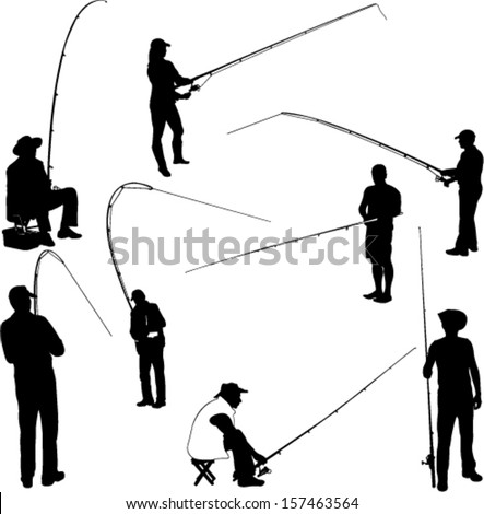 fishermen and fishing 1 - vector - stock vector