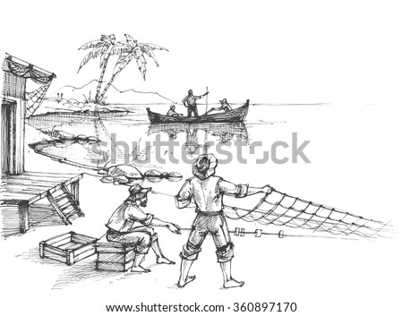 Fishermen at work sketch - stock vector