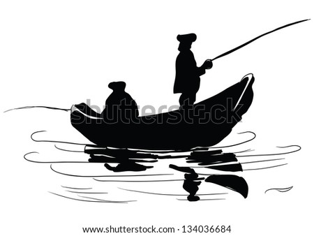 Fishermen in a boat. Fishing from a boat. Drawing made �¢??�¢??by hand. Vector illustration.