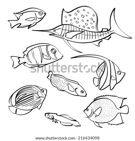 Fishes Collection - stock vector