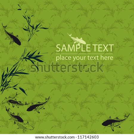 Fishes in the pond green background
