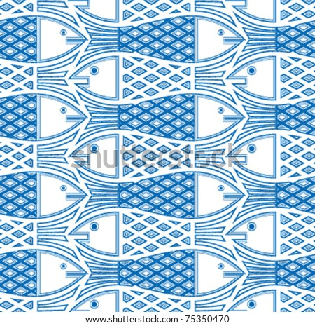 Fishes seamless pattern. Vector deign background. - stock vector