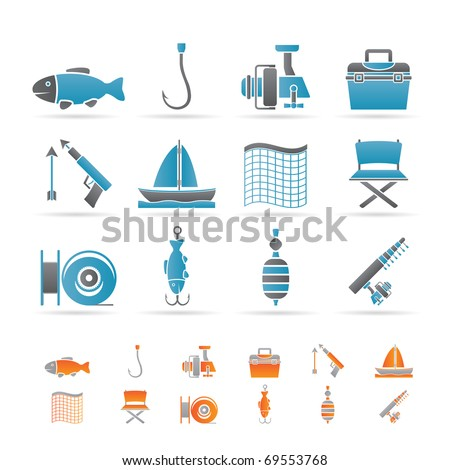 Fishing and holiday icons - vector icon set - stock vector