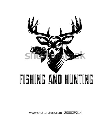 fishing and hunting illustration - stock vector
