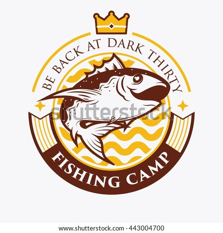 Fishing Badge Template Vintage Retro Badge Stock Vector - Event badge template