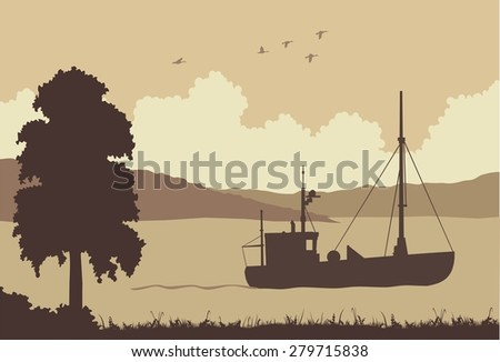 fishing boat floating on the sea rocks background - stock vector