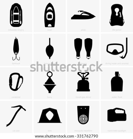 Fishing & camping icons - stock vector