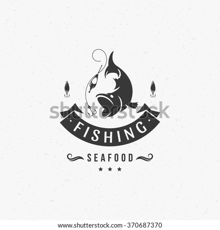 Fishing Club Logo Template. Two Fish and Hook Silhouette Isolated On White Background. Vector object for Labels, Badges, Logos. Fish Logo, Fisher Logo, Fish Silhouette, Hook Silhouette. - stock vector