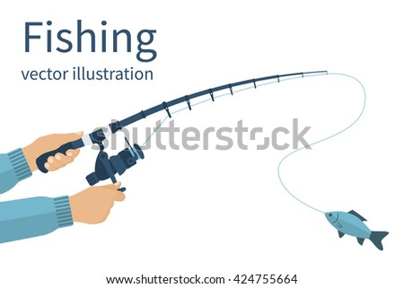 Fishing concept. Fishing banner, poster. Vector illustrations flat design. Fisherman holding in hands fishing rod, spinning rods with a catch. Fishing rod with fishing line and reel. - stock vector