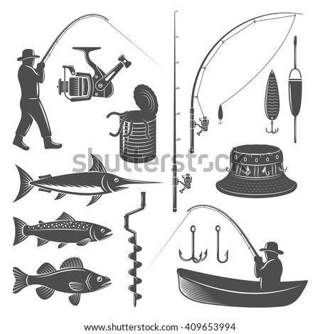 Fishing decorative graphic icons set with man in hat catch tackle bait  boat tin isolated vector illustration