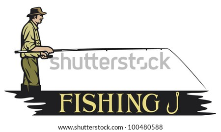 fishing design (fisherman) - stock vector