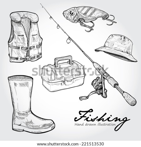 Fishing equipment, icon set. Hand drawn Vector  - stock vector