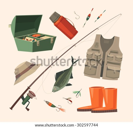 Fishing equipment. Vector illustration. - stock vector