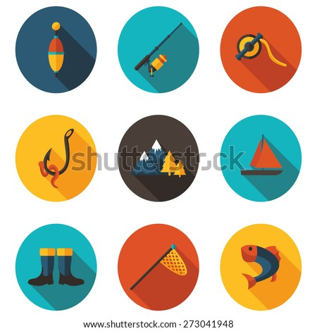 fishing flat icons - stock vector