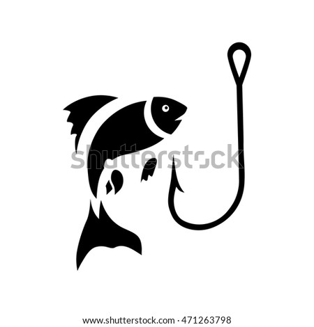 Fishing hook and fish icon in simple style on a white background