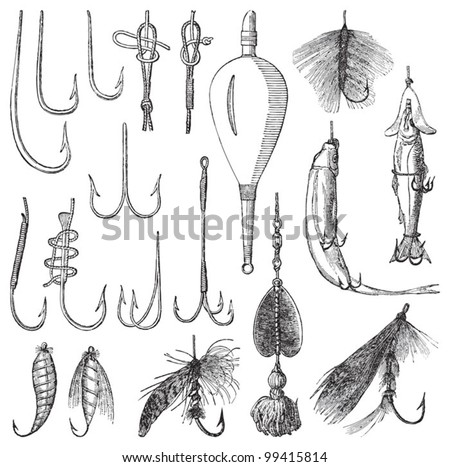 Fishing hook collection / vintage illustration from Meyers Konversations-Lexikon 1897 - stock vector