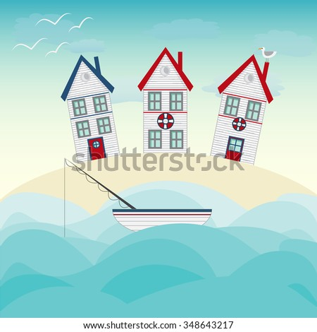 Fishing house, tiny white house, sea and vast sky with seagulls. Seaside themed vector landscape with a dune, fishing boat and huts under a summer sun symbolic of travel and a tropical vacation