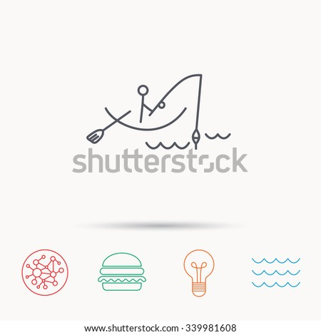 Fishing icon. Fisherman on boat in waves sign. Spinning sport symbol. Global connect network, ocean wave and burger icons. Lightbulb lamp symbol. - stock vector