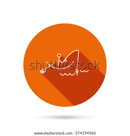 Fishing icon. Fisherman on boat in waves sign. Spinning sport symbol. Round orange web button with shadow. - stock vector