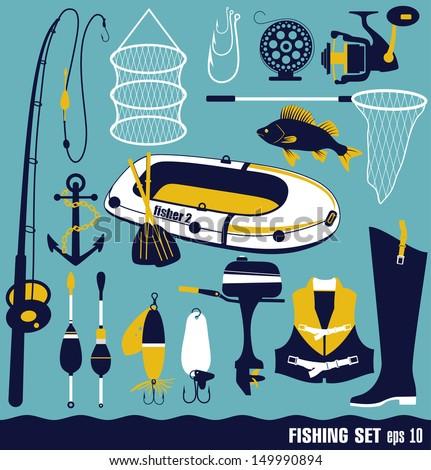 Fishing icon set. - stock vector