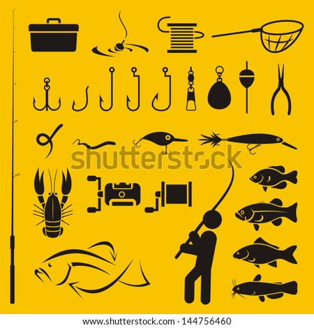 Fishing icons - stock vector