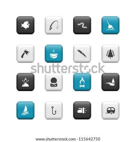 Fishing icons. Buttons