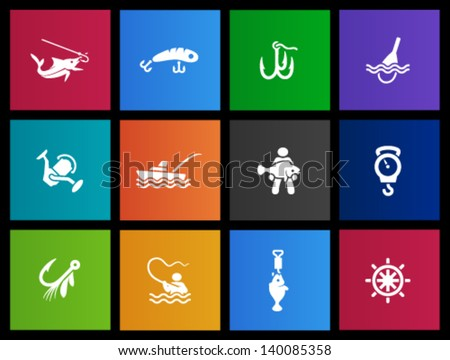 Fishing icons in Metro style - stock vector