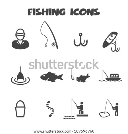 fishing icons, mono vector symbols - stock vector
