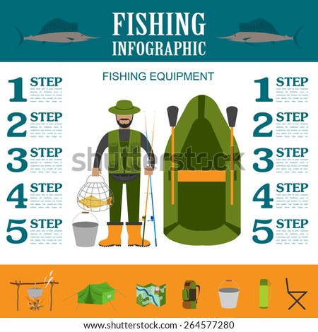 Fishing infographic elements, fishing benefits and destructive fishing. Set elements for creating your own infographic design. Vector illustration - stock vector