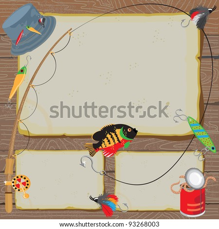 Fishing Invitation on old worn paper & woodgrain background