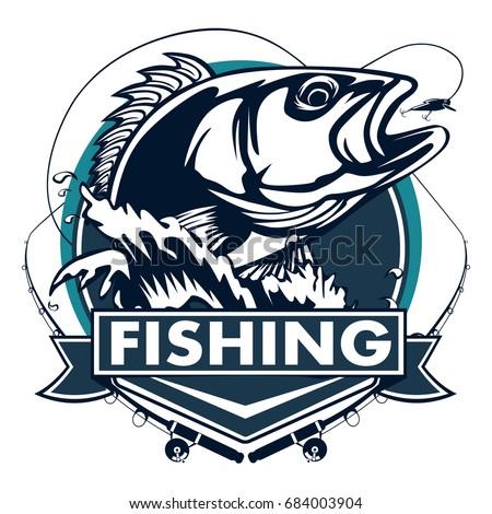 Tuna big fishing on white logo stock vector 687477556 for Bass fishing logos