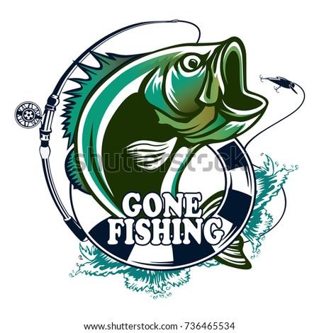 Salmon swimming stock vectors images vector art for Bass fishing logos