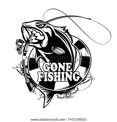 bass fishing logos  Fishing Logo Bass Fish Rod Club Stock Vector (Royalty Free ...