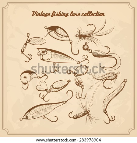 fishing lures collection of design elements sketch style vintage vector illustration - stock vector