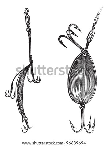 Fishing Lures, Plug,  Spoon, vintage engraved illustration. Magasin Pittoresque 1874. - stock vector
