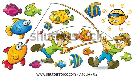 Fishing Man - stock vector