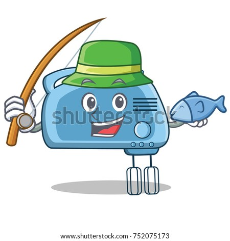 Fishing mixer character cartoon style