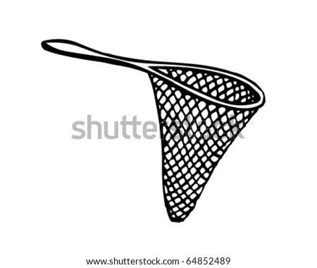 Fishing Net 3 - Retro Clipart Illustration - stock vector